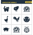 Icons set premium quality of agriculture animals vector image