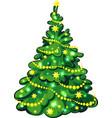Illuminated Christmas Tree isolated on white vector image