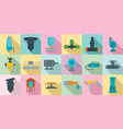 irrigation system icon set flat style vector image vector image