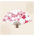 japanese fan sakura painting white background vect vector image