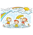 kids playing in the rain vector image