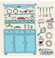 Kitchen set in Design elements of kitchen vector image vector image