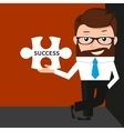 Lucky businessman is presenting a puzzle piece vector image vector image