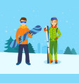 man with snowboard and girl skis on mountain vector image vector image