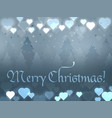 merry christmas greeting card glowing hearts on a vector image vector image