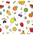 mix cute fruits seamless pattern background vector image vector image