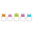 monster pocket set colorful silhouette cute vector image vector image