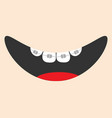 mouth with tongue and tooth braces smiling face vector image vector image