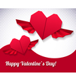 origami paper hearts vector image vector image