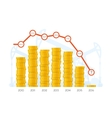 Piles of coins with chart graph concept vector image vector image