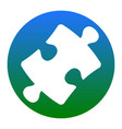 puzzle piece sign white icon in bluish vector image