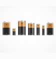 realistic 3d detailed alkaline battery set vector image