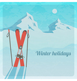 retro with snowy mountains and skis vector image vector image