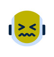 Robot face icon sad face sick emotion robotic