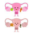 sad unhealthy sick uterus with bottle of alcohol vector image