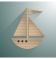 Sailing yacht flat square icon with long shadows vector image vector image
