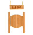 saloon doors and sign vector image vector image
