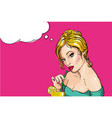 sexy young blond woman is drinking coctail with a vector image