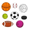 Sketched sporting balls and puck symbols vector image vector image