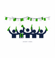 soccer fans with beer bottle in the bar vector image vector image