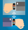 two hands with a smart watch displaying a web vector image vector image