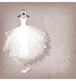 wedding dress on grungy background vector image vector image