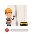 Worker Dismantling Wall Beacons vector image vector image
