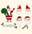 cartoon santa claus different emotions vector image