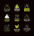 chicken farm labels and emblems vector image
