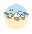 Egyptian pyramids style line flat vector image
