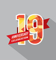 19th Years Anniversary Celebration Design vector image vector image