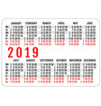2019 horizontal pocket calendar grid template vector image vector image