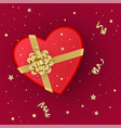 a realistic red gift box with shape of heart vector image vector image