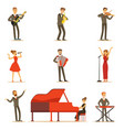 adult musicians and singers performing a musical vector image vector image