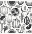 autumn season food seamless pattern hand drawn vector image