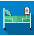 Bed in hospital flat icon vector image vector image