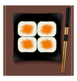 Black square plate with sushi and chopsticks vector image vector image