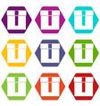 box icon set color hexahedron vector image