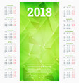 calendar for 2018 year design template week vector image vector image