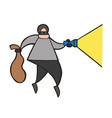 cartoon thief man with face masked walking and vector image vector image
