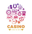 casino label design with colorful icons round vector image vector image