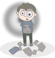 catroon boy with a bunch of papers vector image