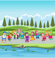 children and their parents are holiday vector image vector image