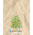 christmas tree over crumple background vector image