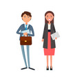 coworkers in formal wear lady manager envelope vector image vector image