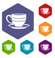 cup icons set hexagon vector image vector image