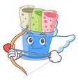cupid rolled ice creams in cartoon cups vector image vector image