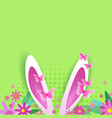 cute easter background with bunny ears over copy vector image vector image