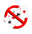 do not play gamble suit card prohibition sign vector image vector image