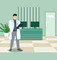 doctor near receptionist table in medical clinic vector image